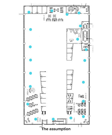 Floor plan with sensors of the assumption of how it should look