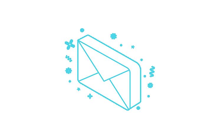 isometric blue envelope graphic